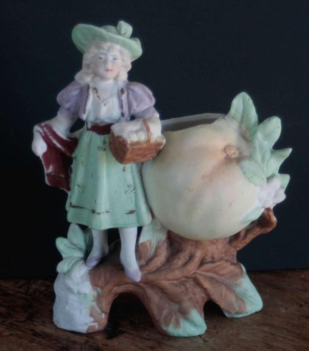 antique bisque match safe or figural bud vase