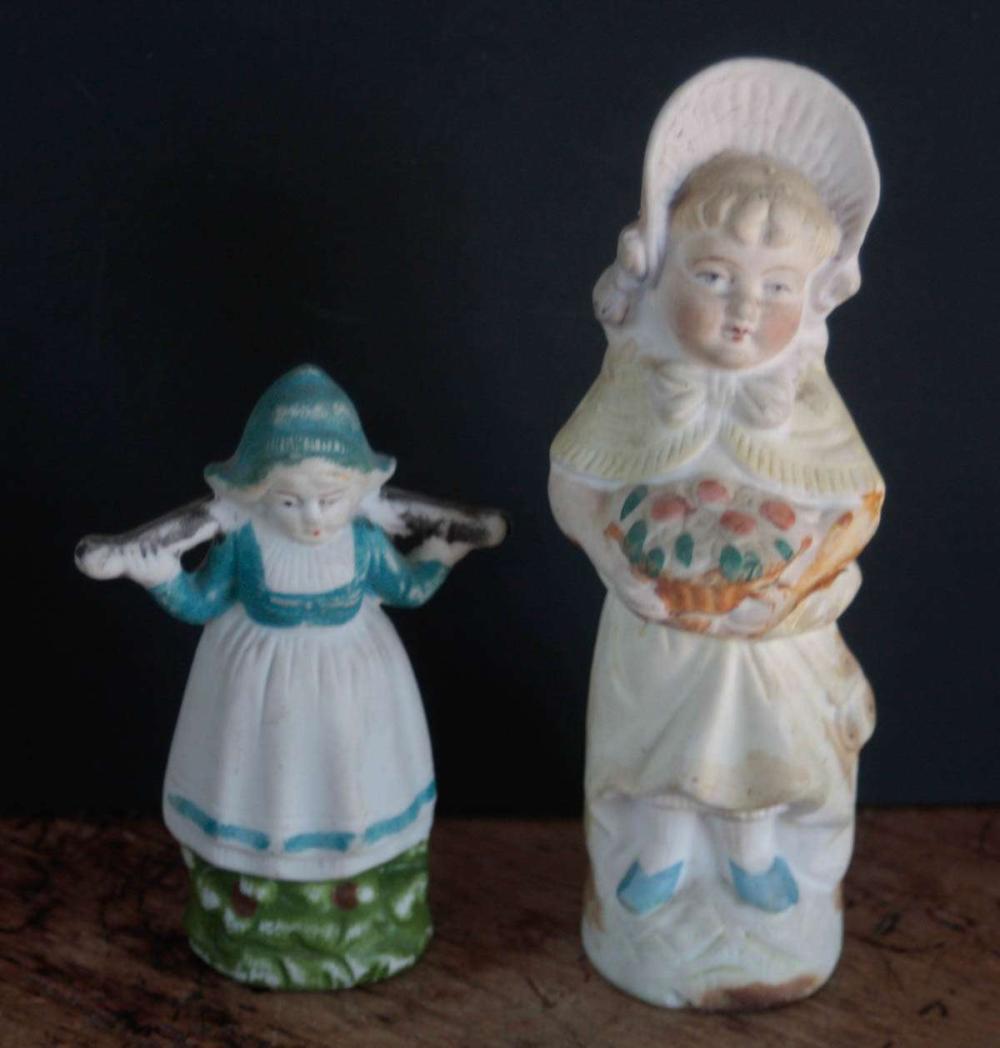 pair antique bisque figural statues