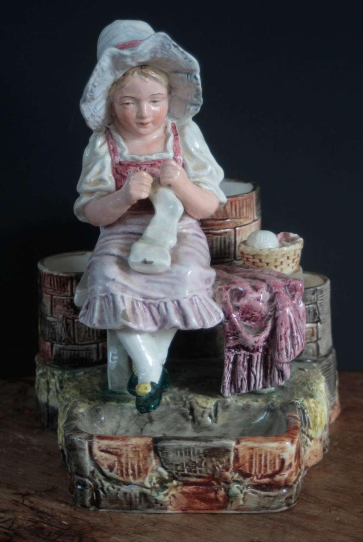 antique Majolica porcelain match safe