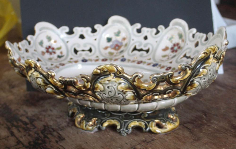 large antique porcelain Majolica centerpiece