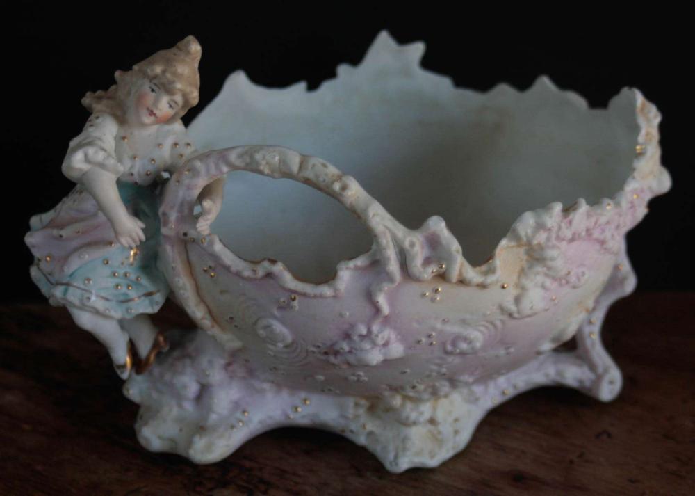 antique bisque figural bowl