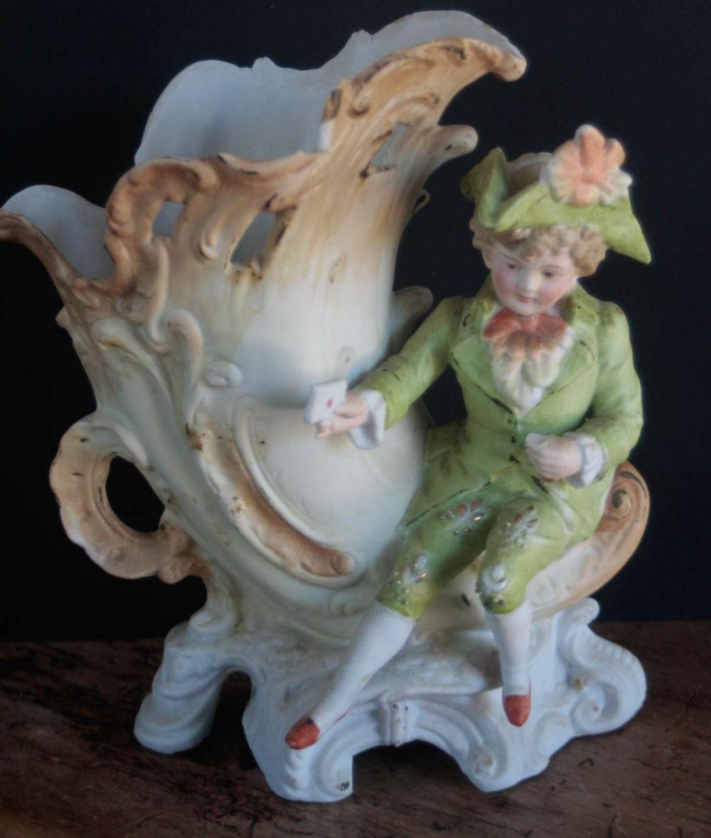 antique bisque figural cornucopia vase