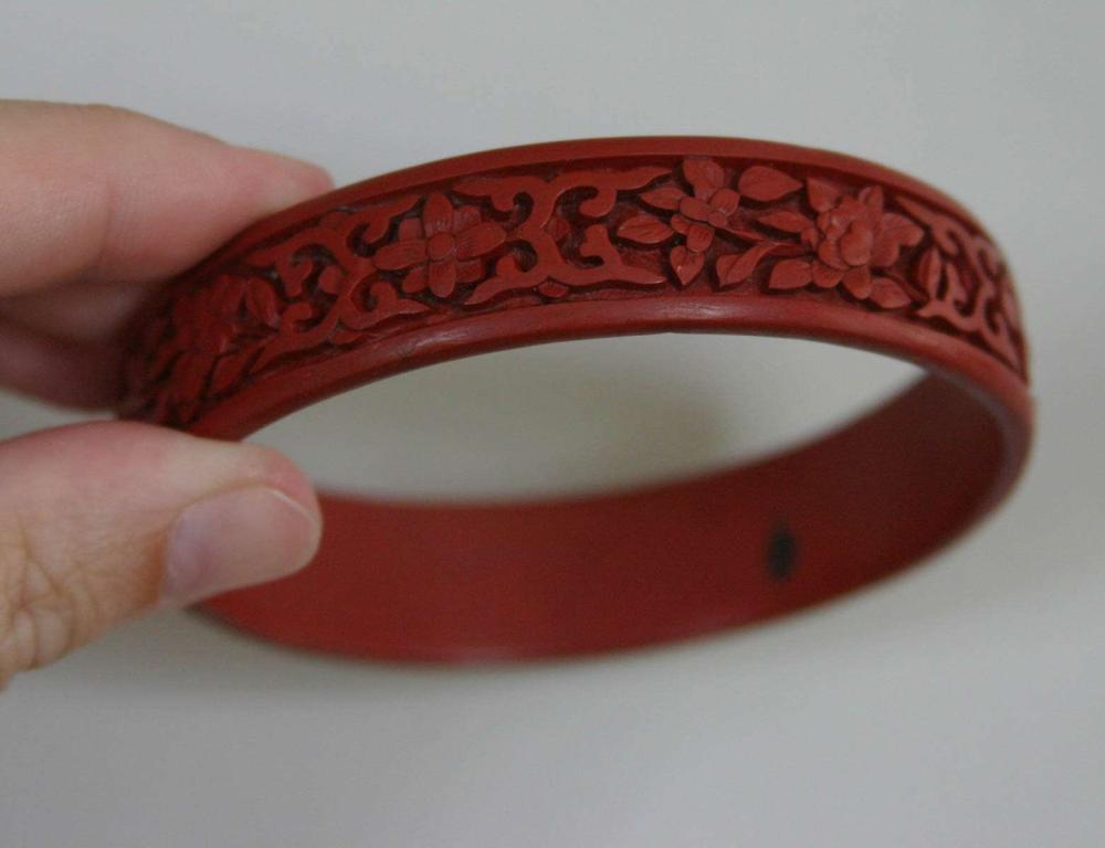antique estate jewelry: Chinese cinnabar bracelet