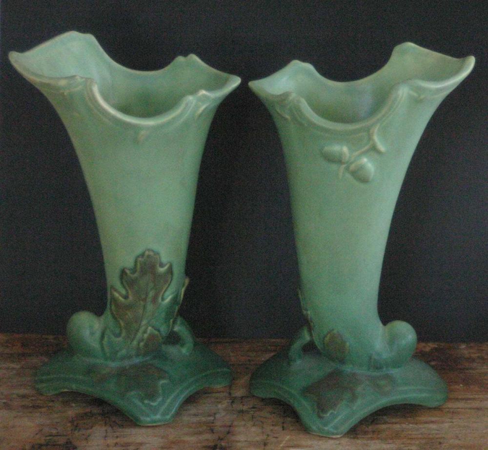 pair vintage or antique Weller pottery vases