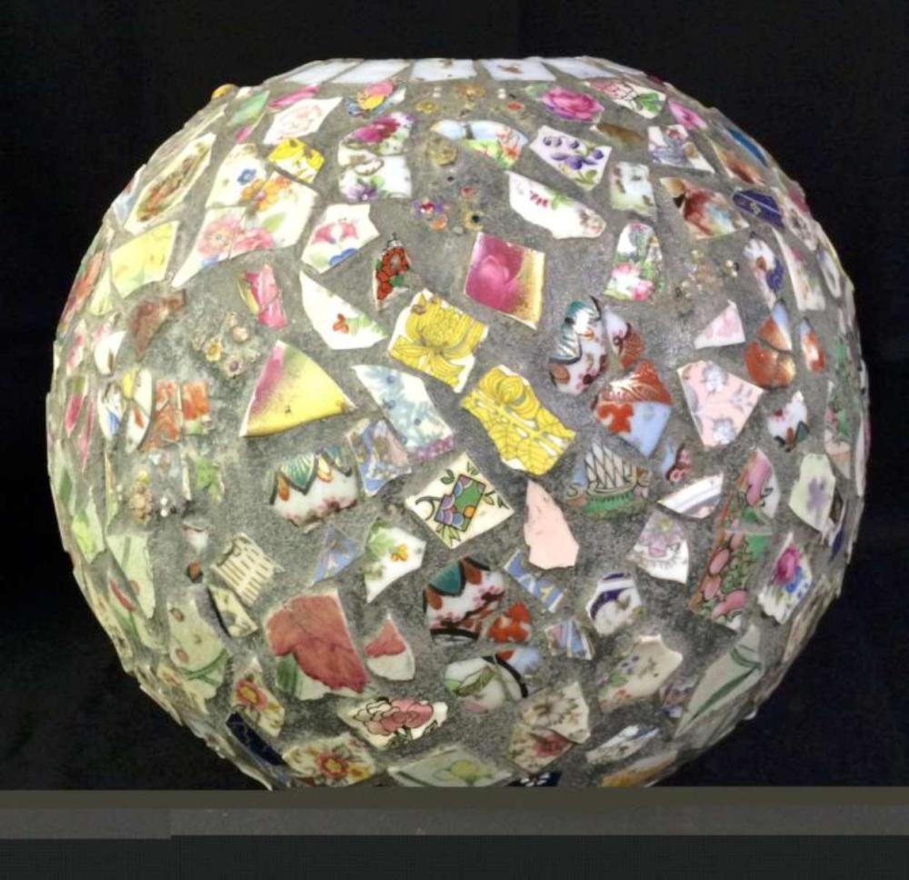 large vintage mosaic stoneware pot
