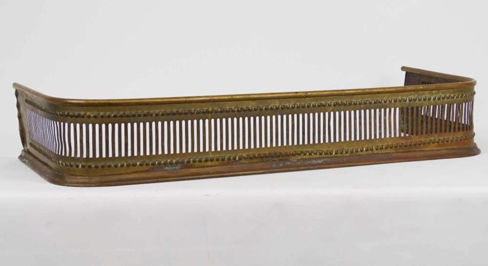 antique pierced brass fireplace fender