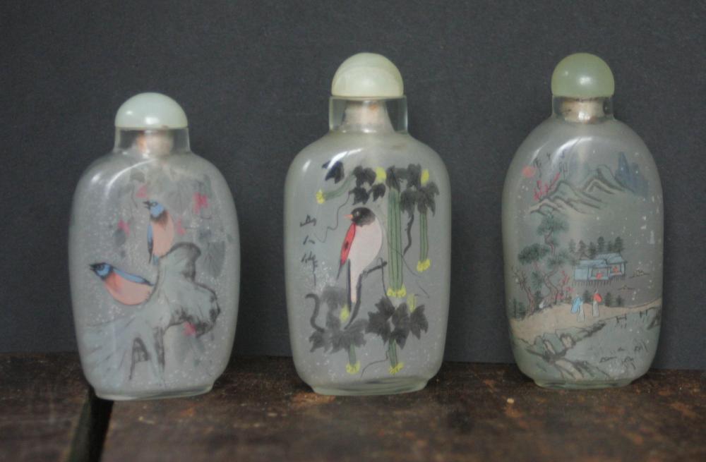 set lot of 3 vintage Asian snuff bottles