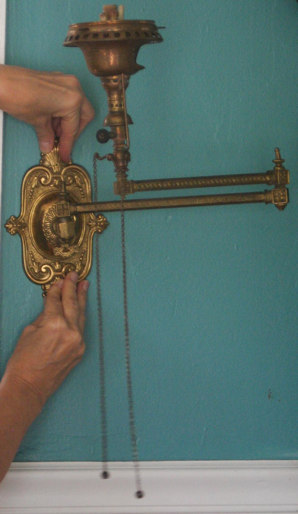 antique Victorian brass wall mount gas lamp