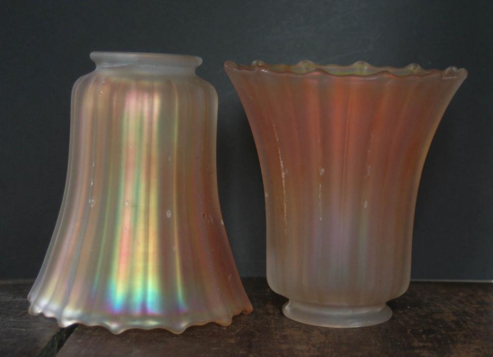 pair vintage iridescent orange glass shades