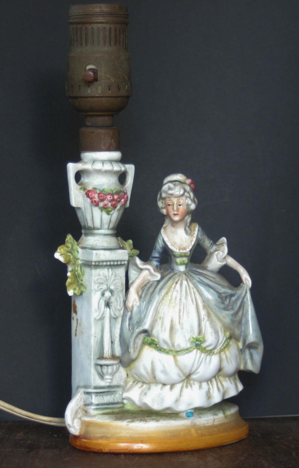 antique porcelain Victorian lady lamp