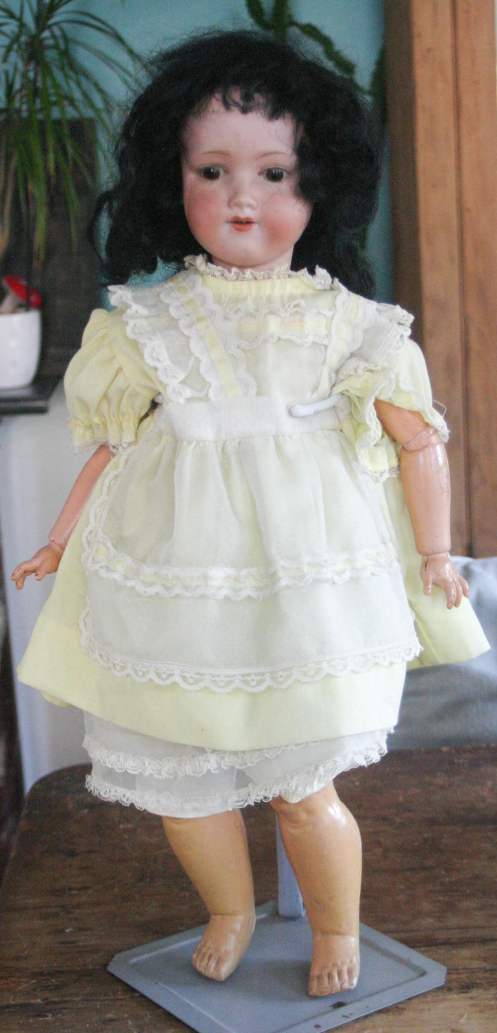 antique German bisque head girl doll