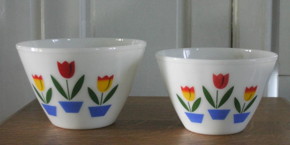 antique pair of Fire King bowls