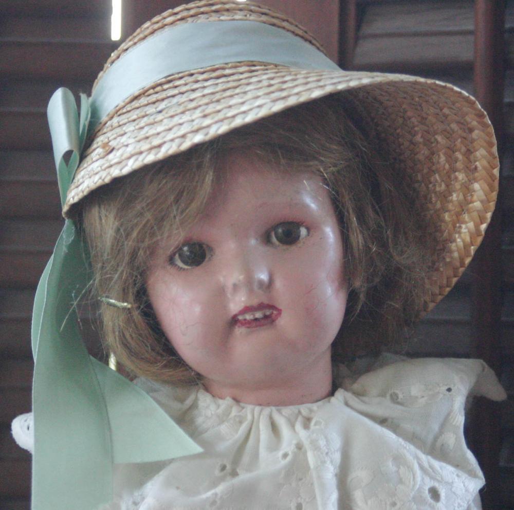 antique wooden Schoenhut girl doll