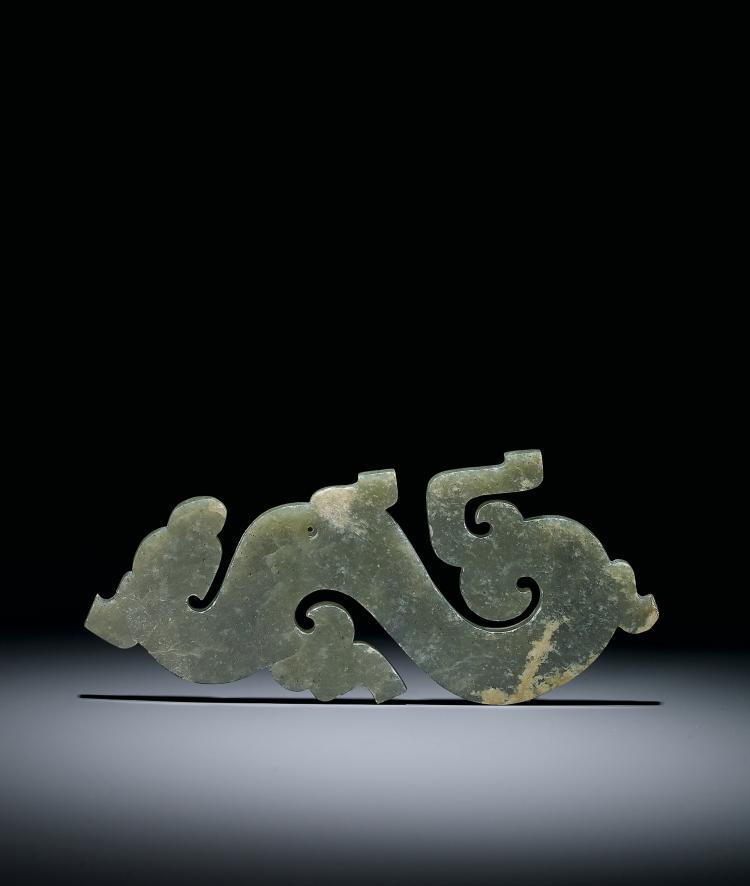 A Celadon Jade 'Dragon and Phoenix' Pendant Warring States Period