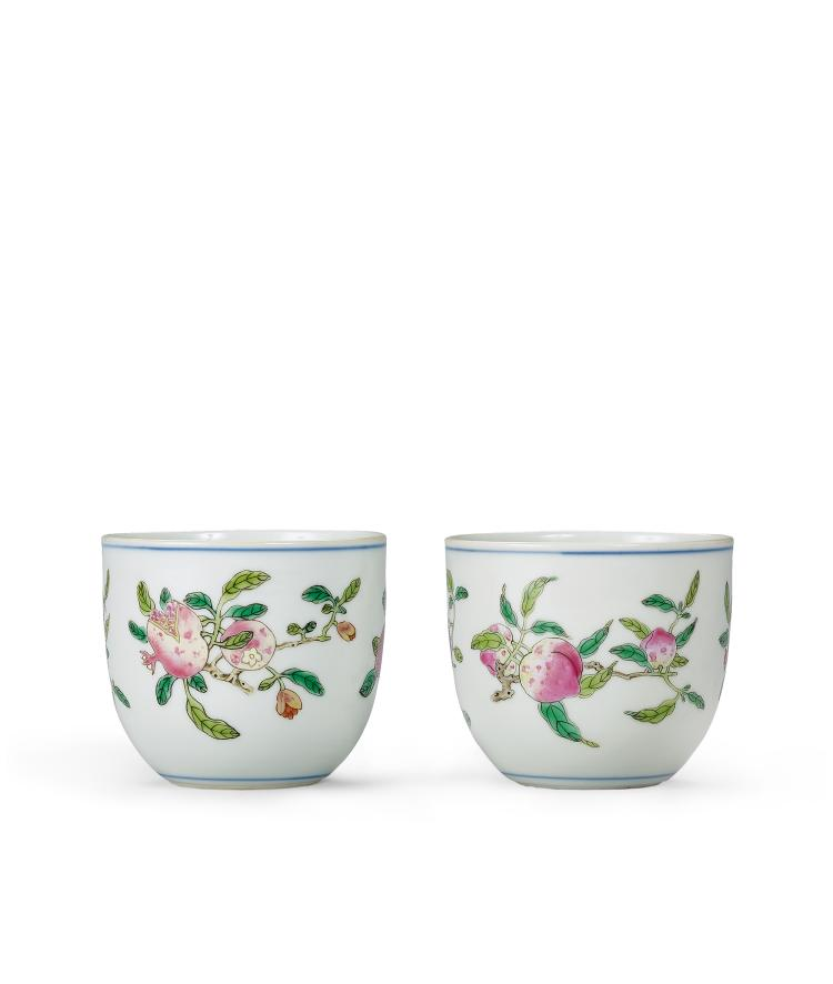 A Fine Pair of Famille Rose 'San Duo' Cups Mark and Period of Qianlong