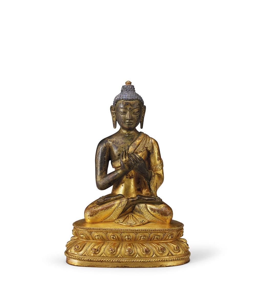 十八世紀 銅鎏金釋迦牟尼佛坐像 A Gilt-Bronze Figure of Sakyamuni, 18th Century