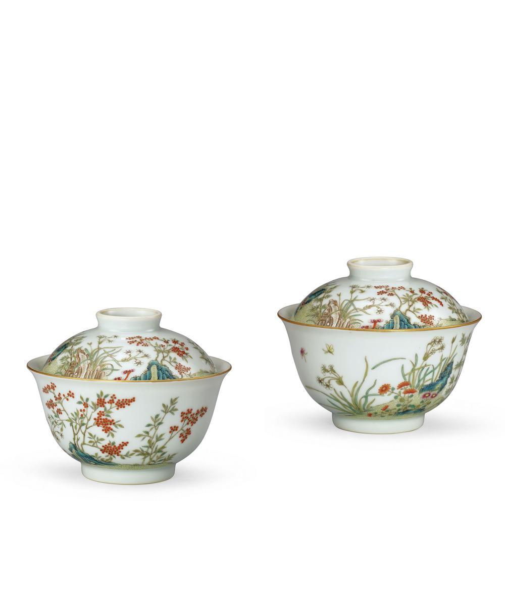 清咸豐 粉彩花卉圖蓋碗一對 A Pair of Famille-Rose 'Floral' Bowls and Covers, Mark and Period of Xianfeng