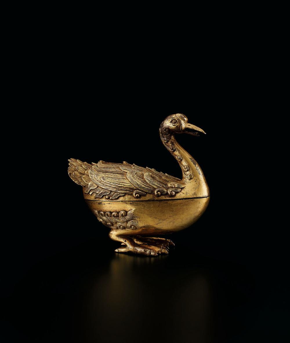十八世紀 銅鎏金寶鴨香薰 A Gilt-Bronze 'Duck' Censer, 18th Century