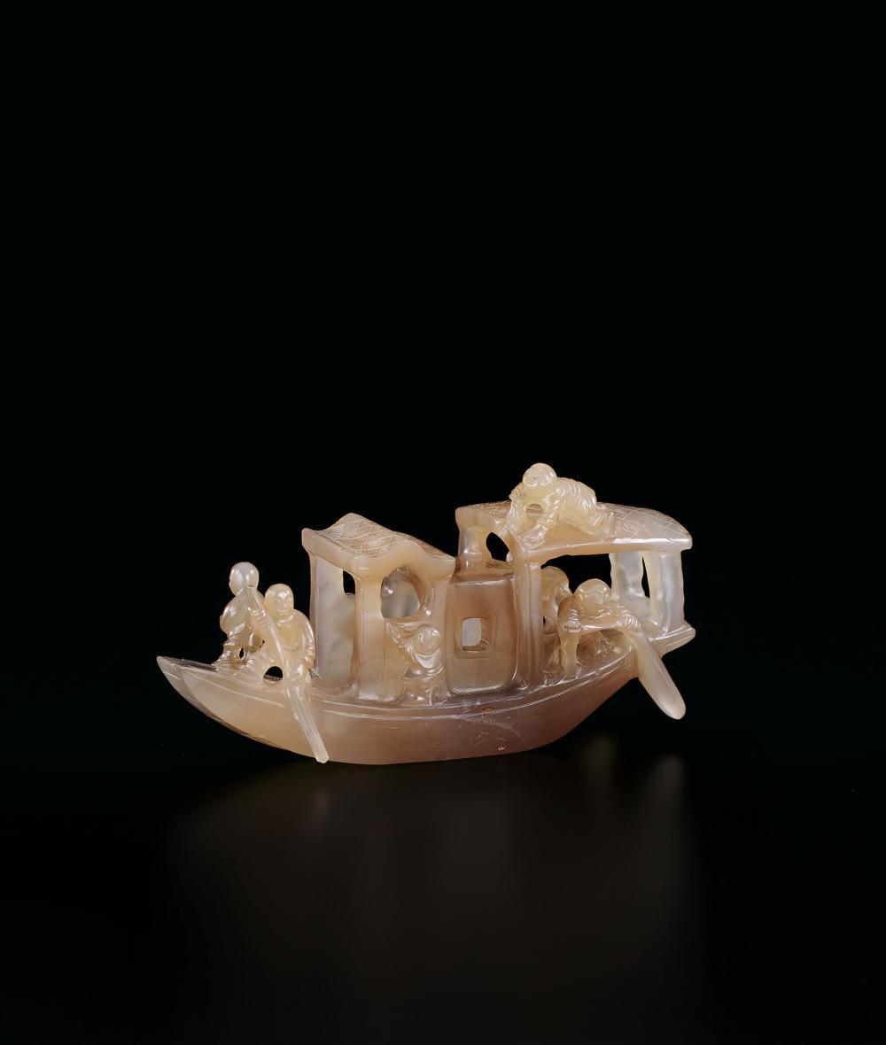 清 瑪瑙漁家樂擺件 An Agate Boat, Qing Dynasty