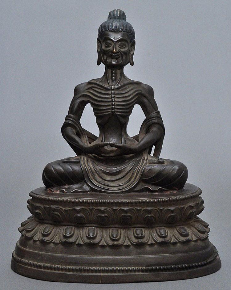 A Sino-Tibetan Bronze Emaciated Buddha, Qing