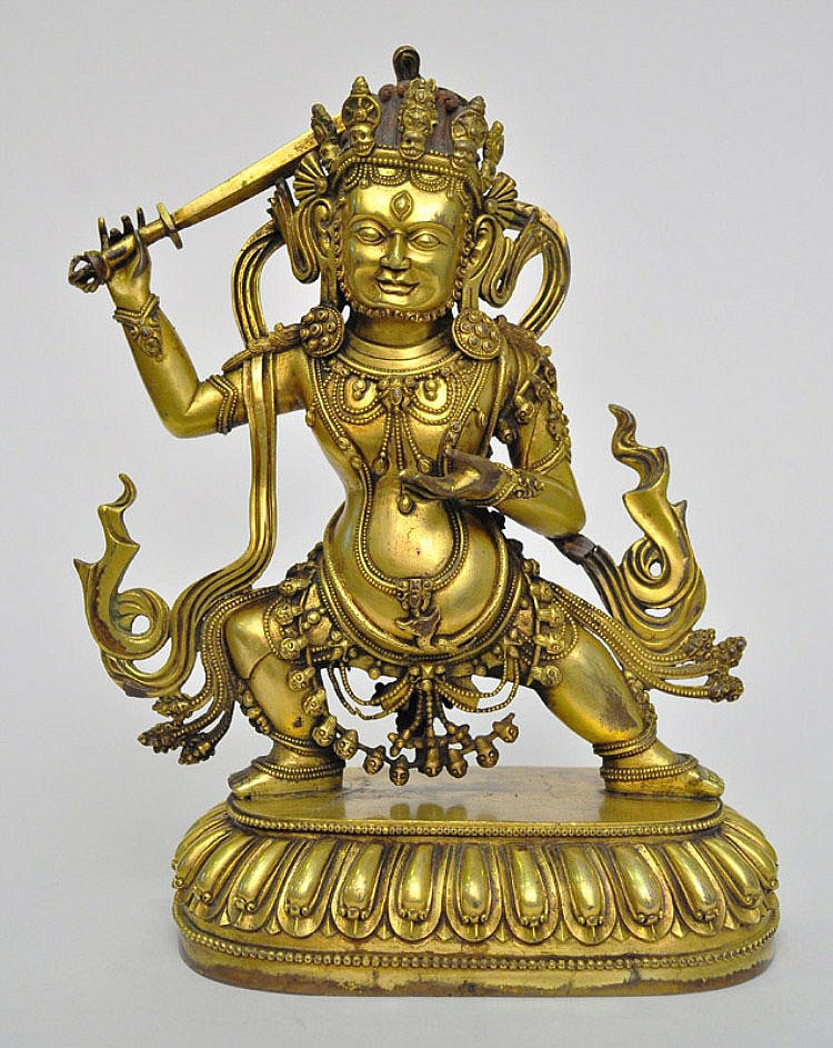 A Sino-Tibetan Gilt Bronze Hayagriva, Qing
