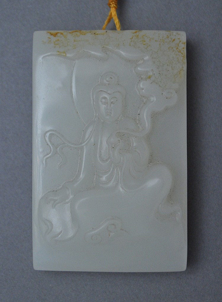 A Chinese Jade Plaque of Seated Guanyin