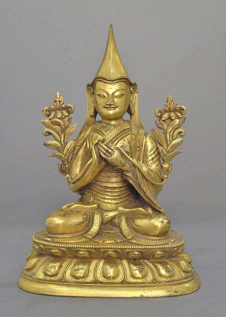 A Sino-Tibetan Gilt Bronze Tsong Khapa, 18th C.