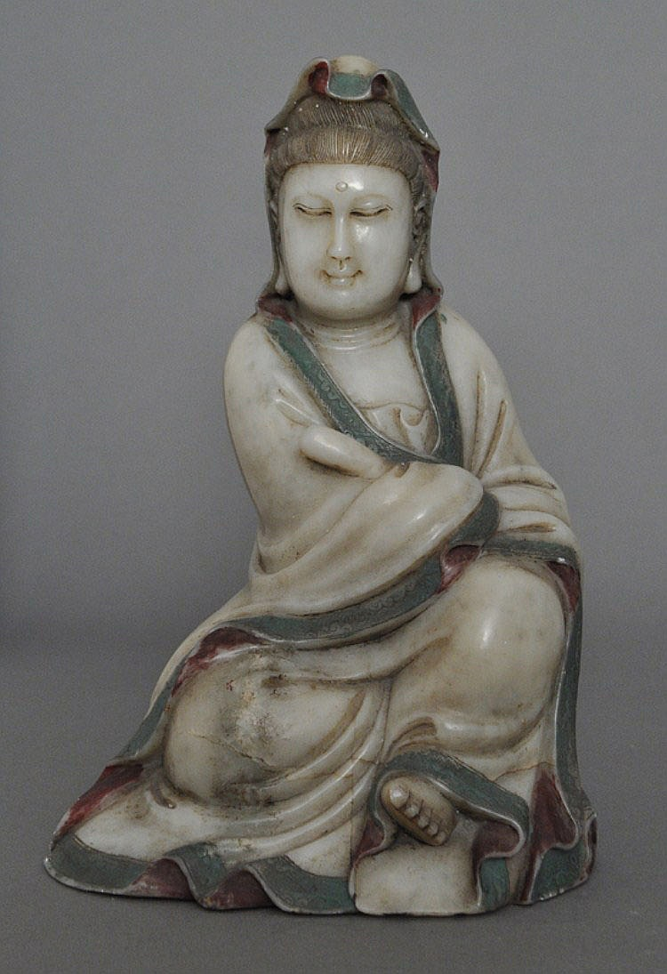 A Chinese Polychrome Jade or Soapstone Guanyin, Qing