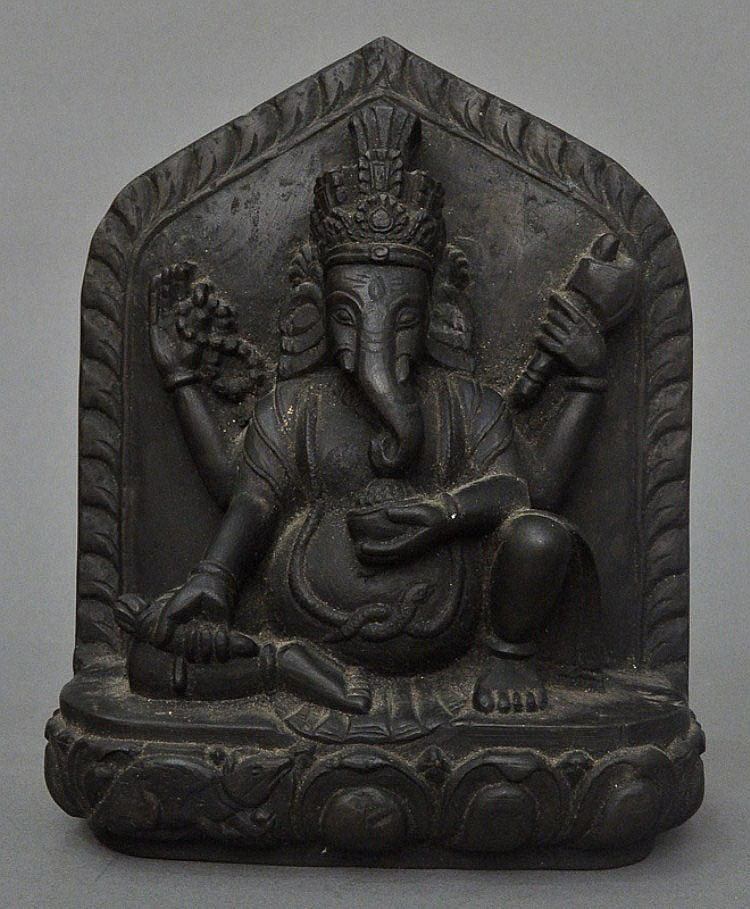 A Stone Carved 4-Armed Ganesha