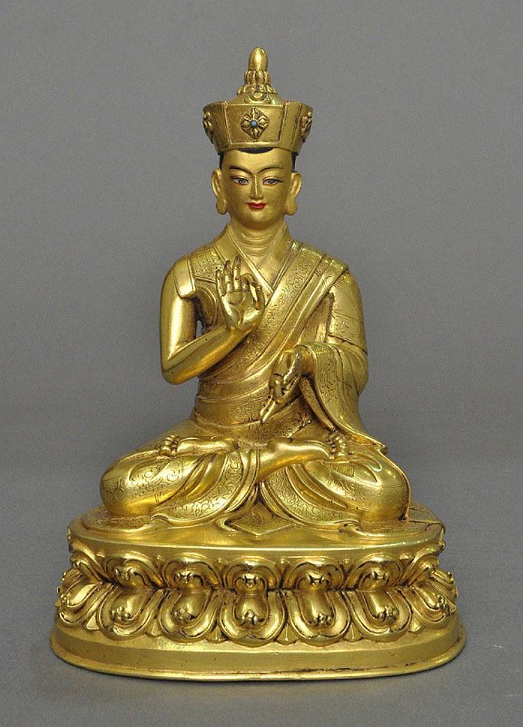 A Sino-Tibetan Gilt Bronze Karma Kagyu Lama, 18th C.