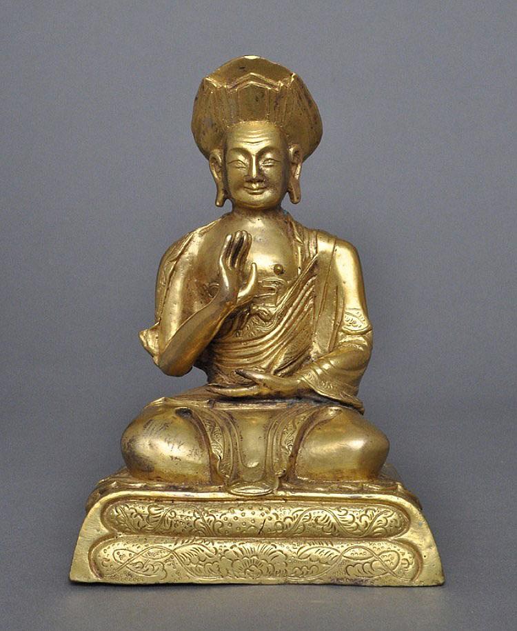 A Sino-Tibetan Gilt Bronze Lama, Qing