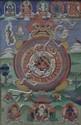 A Thangka Painting with 12 Zodiac Animals / Symbols