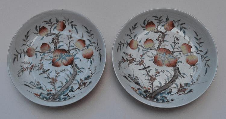 A Pair of Chinese  Porcelain Peach Dishes