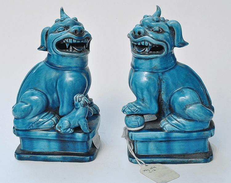 A Pair of Chinese Porcelain Turquoise  Unicorns