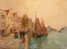 Anna Koppenol - Lehman (1876-1956) 'Kade in vissersstadje', gesigneerd l.o.