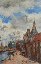 Anna Koppenol - Lehman (1876-1956) 'Gracht in Leiden', gesigneerd r.o., doe