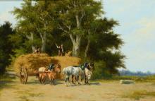 Hermanus Charles Christiaan Bogman (1861-1921) 'Paarden met hooiwagen', ges