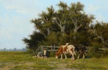 Hermanus Charles Christiaan Bogman (1861-1921) 'Koeien in landschap', gesig