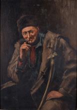 Charles Kvapil (1884-1957) 'Pijprokende herder', gesigneerd r.b., paneel. Afm. 21 x 15,5 cm.