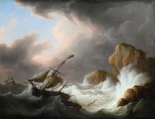 Martinus Schouman (1770-1848) 'Schepen in de stormbranding', gesigneerd r.o., doek. Afm. 71 x 93 cm.