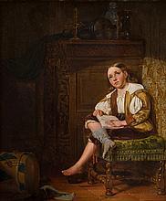 Moritz von Schwind (1804-1871)  'Trommelaar in interieur'
