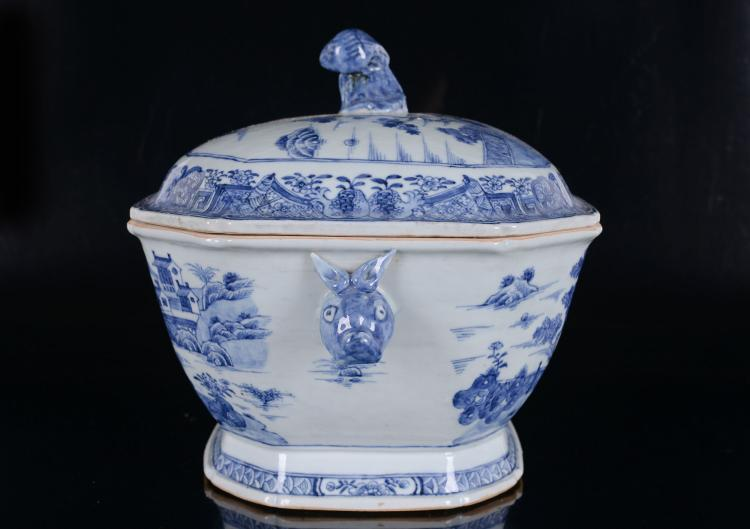 a blue and white porcelain tureen with a decor of a pagoda o. Black Bedroom Furniture Sets. Home Design Ideas