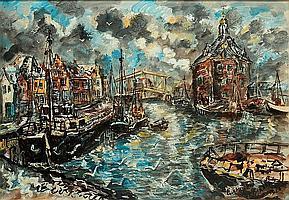 Jan Makkes (1935-1999), 'Gezicht op Enkhuizen',