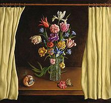 Arthur Knauf (1948), 'Stilleven met bloemen', gesi