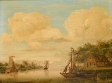 Johan Hendrik Boshamer (1775-1862) 'De Wacht Dortsche Kil', gesigneerd r.o., paneel. Afm. 30,5 x 39 cm.