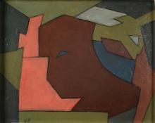 Will Leewens (1923-1986) 'Abstract', gesigneerd l.o., board. Afm. 27 x 32 cm.