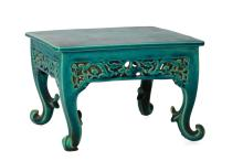 A rare miniature square shaped turquoise biscuit table with cabriole legs in the shape of a leaf. The table support ornamented with openwork and dragons in the forest. Old sticker with 'Kang Hi'. China, Kangxi. Dim. 12,5 x 18,5 x 18,5 cm.