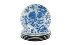 Set of six blue and white porcelain dishes decorated with flowers and a bird. Marked with insence burner. China, Kangxi. Diam. 21 cm. Provenance: fam. Six and Bosch Reitz.