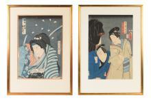 Utagawa Kunisada (Toyokuni) III (1786-1865) Lot of two woodblock prints, one of them signed. Japan. Dim. 36 x 25 cm.