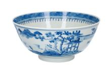 A blue and white porcelain bowl, decorated with river landscape. The outside decorated with mountainous landscape. Marked with 4-character mark. China, 19th century. Diam. 15 cm.